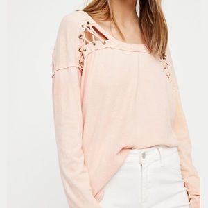 We the Free First Love Peach Slouchy Top XS